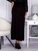 Czarna długa spódnica maxi w transparentne paski                                  zdj.                                  2