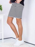 Czarna dopasowana spódnica w paski                                  zdj.                                  5
