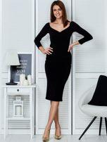 Czarna dopasowana sukienka                                   zdj.                                  4