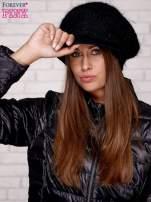 Czarna dziergana czapka z daszkiem                                   zdj.                                  1