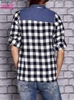 Czarna koszula w kratę z denimową wstawką                                  zdj.                                  4
