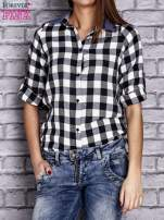 Czarna koszula w kratę z denimową wstawką                                  zdj.                                  5
