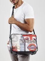 Czarna męska torba na ramię z nadrukiem                                  zdj.                                  1