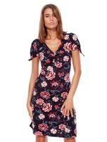Czarna mini sukienka V-neck z nadrukiem kwiatów                                  zdj.                                  1