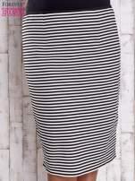 Czarna ołówkowa spódnica w paski PLUS SIZE                                  zdj.                                  4