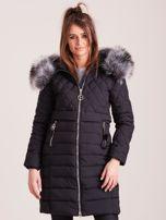 Czarna pikowana kurtka zimowa                                  zdj.                                  1