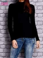Czarna prążkowana bluzka z półgolfem                                  zdj.                                  1