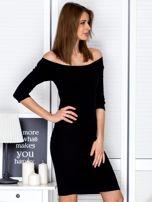 Czarna prążkowana sukienka odsłaniająca ramiona                                  zdj.                                  5
