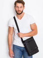 Czarna prostokątna męska torba ze skóry                                  zdj.                                  2