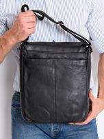 Czarna skórzana męska torba z klapką                                  zdj.                                  3