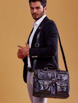 Czarna skórzana torba męska z odpinanym paskiem                                  zdj.                                  5