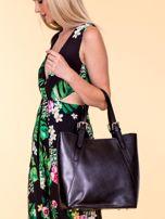 Czarna skórzana torba shopper bag                                  zdj.                                  4