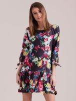 Czarna sukienka floral print z wiązanymi rękawami                                  zdj.                                  1