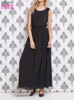 Czarna sukienka maxi z biżuteryjnym dekoltem                                  zdj.                                  1
