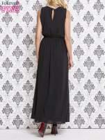 Czarna sukienka maxi z biżuteryjnym dekoltem                                  zdj.                                  2