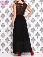 Czarna sukienka maxi z koronkowym tyłem                                                                          zdj.                                                                         4