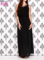 Czarna sukienka maxi z łańcuchem przy dekolcie                                  zdj.                                  1