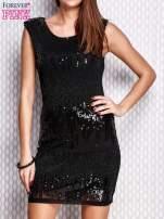 Czarna sukienka z aplikacją z koralików i cekinów                                  zdj.                                  1