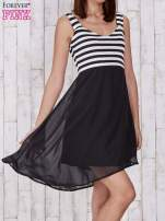 Czarna sukienka z górą w paski                                  zdj.                                  5