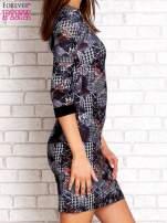 Czarna sukienka z nadrukiem pepitki                                                                          zdj.                                                                         3