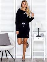 Czarna sukienka z wstążkami                                   zdj.                                  4