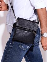 Czarna torba męska z kieszonką na suwak                                  zdj.                                  3