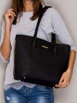 Czarna torba shopper bag ze złotymi suwakami                                  zdj.                                  1