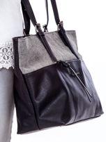 Czarna torba shopper z materiałową wstawką                                  zdj.                                  3
