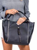 Czarna torba shopperka z ćwiekami                                  zdj.                                  1