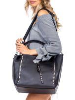 Czarna torba shopperka z ćwiekami                                  zdj.                                  4