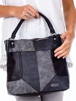 Czarna torba z łączonych materiałów                                  zdj.                                  2