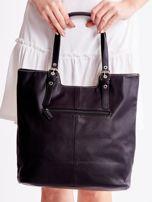 Czarna torba z materiałową wstawką                                  zdj.                                  5
