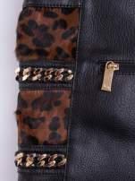 Czarna torba z motywem panterkowym i odpinanym paskiem                                  zdj.                                  5