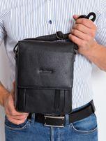 Czarna torebka męska z klapką                                  zdj.                                  3