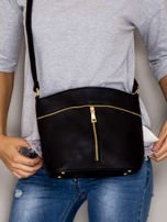 Czarna torebka ze złotymi suwakami                                  zdj.                                  1