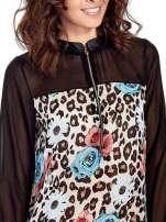 Czarna transparentna koszula z motywem kwiatowym                                                                          zdj.                                                                         5
