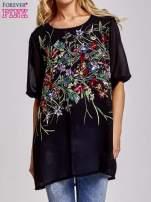 Czarna tunika mgiełka w kwiatki