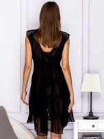 Czarna warstwowa sukienka z wiązaniem                                   zdj.                                  2