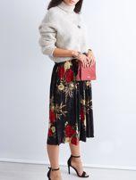 Czarna welurowa plisowana spódnica w kwiaty                                  zdj.                                  6