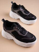 Czarne buty sportowe na podwyższeniu z błyszczącą wstawką i zwierzęcym motywem                                  zdj.                                  5