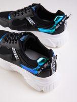 Czarne buty sportowe z holograficznymi wstawkami w kolorze błękitu                                  zdj.                                  3