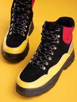 Czarne trapery z żółtymi wstawkami na przodzie                                  zdj.                                  4