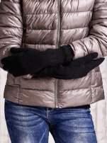 Czarne długie rękawiczki z przeszywanym ściągaczem                                  zdj.                                  2