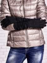 Czarne długie rękawiczki ze srebrną nicią                                  zdj.                                  2
