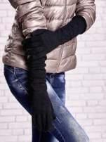 Czarne długie rękawiczki ze srebrną nicią                                  zdj.                                  3