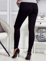 Czarne dopasowane spodnie z suwakami                                  zdj.                                  2