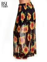 Czarne kwiatowe zwiewne spodnie culottes                                                                          zdj.                                                                         4
