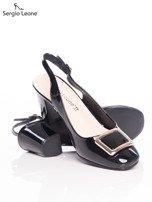 Czarne lakierowane sandały Sergio Leone z ozdobną złotą blaszką na przodzie                                  zdj.                                  4