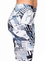 Czarne legginsy z nadrukiem magazines print                                  zdj.                                  6