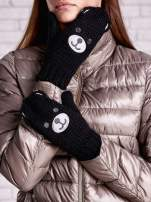 Czarne rękawiczki w kształcie misia